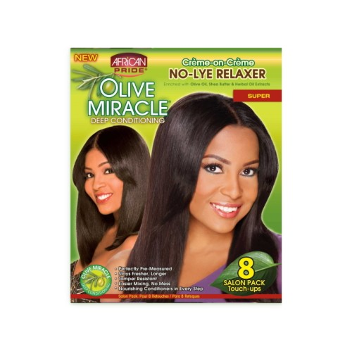 African Pride Olive Miracle Deep Cond. No-Lye Relaxer Super 4 Kits