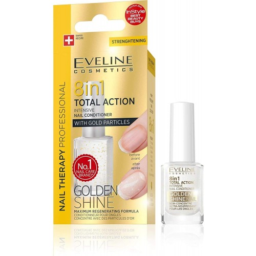 Eveline Cosmetics Nail Therapy Conditioner 8 in 1 Golden Shine 12ml